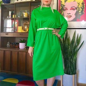 Vintage 70s green dolman turtleneck dress XL